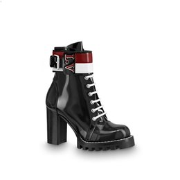 plains prints UK - New Top Brand Women Martin Ankle Boots in Black Chunky Heel Platform Knight Motorcycle Cow Leather Designer Winter Boots Size 35-40