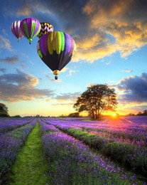 romantic oil canvas NZ - Lavender Fields Romantic Balloon High Quality HD Print Abstract Landscape Art Oil Painting On Canvas Wall Art l206