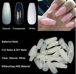 Wholesale 600pcs Bag Ballerina Nail Art Tips Transparent Natural False Coffin Nails Art Tips Flat Shape Full Cover Manicure Fake Nail Tips on Sale