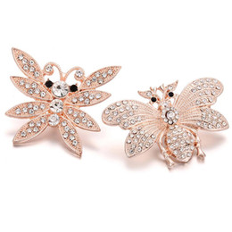 snap animals NZ - 10Pcs 2018 New Snap Jewelry Rose Gold Bee Butterfly 18mm Snap Buttons with Rhinestone Animal Charm Fit Silver Snap Bracelets Bangles