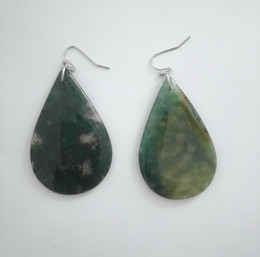 Wholesale Moss Agate Stone Earrings Drop Oval S Shape Semi Precious Natural Stones Fish Earrings For Women and Girls Gift