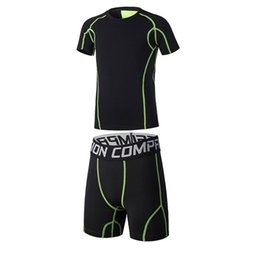 $enCountryForm.capitalKeyWord NZ - Wholesale-Kids Running Shorts Sets Sportswear Compression Clothes Fitness Basketball Soccer Football Jersey Tennis Shirts Gym Sports Suit
