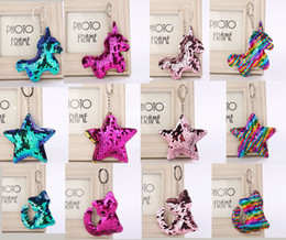 Gifts for cat lovers online shopping - 36PCS Star Unicorn Cat Keychain Glitter Pompom Sequins Key Chain Gifts for Women Llaveros Mujer Car Bag Accessories Key Ring