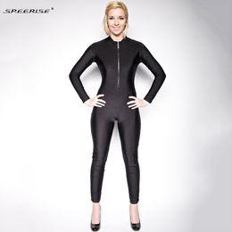 a68b54d76e Adult Lycra Spandex Unitard Bodysuit Full Body Long Sleeve for Women  Turtleneck Zentai Front Zipper Ballet Latin Dance Wear