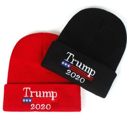 Wholesale beanie embroidery online shopping - Trump Beanies Cap Re Election Keep America Great Letter Knitting Hats Embroidery winter hat Sports Cap KKA6172