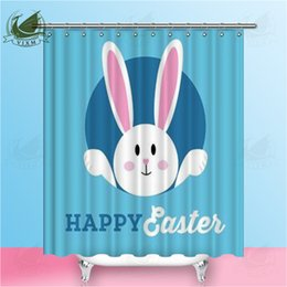 Vixm Cute Cartoon Bunny Rabbit Easter Spring Immagine blu Tende da doccia Tessuto in poliestere Tende per la decorazione domestica
