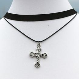 Black gothic cross pendant online shopping - whole saleN910 Gothic Fashion Women Clavicle Necklaces Multilayer Black Choker Necklace Cross Pendant Jewelry Collar Necklace Bijoux