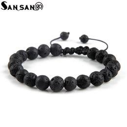 Discount volcanic lava bracelet - New Design Black Volcanic Stone Beads Bracelet Woman Men Lava Healing Balance Reiki Prayer adjustable bracelet