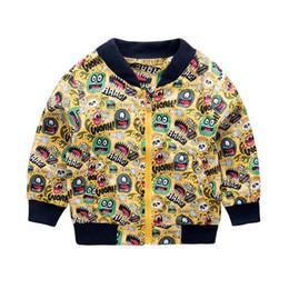 $enCountryForm.capitalKeyWord Australia - Fashion Dinosaur Print Jacket Kids Cute Monster Baby Zipper Outerwear Coat Boys Girls Children's Clothing With Hooded Coats