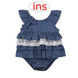 abcd5d0ebcb Summer INS Baby Denim blue big bow Romper lace Newborn Baby Sleeveless Romper  Jumpsuit Kids Clothing Outfits Baby Girls Boys Clothes 0-2Y