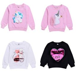 big girls clothing fall 2019 - 2018 Fall Lovely Girls clothing Casual Sweatshirt Unicorn Bling-bling Sequins Tops Long sleeve Middle Big kids clothing