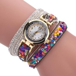 Wholesale old Crystal Bracelet Watch Women Casual Leather Clock Beads Design Ladies Quartz Electronic Wristwatch Gift