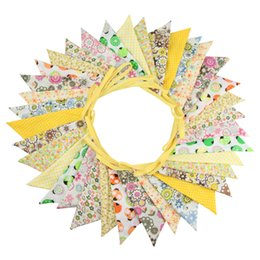 $enCountryForm.capitalKeyWord UK - New 10M 36 flags Yellow Print Fabric Bunting Flags Birthday Party Decoration Banner Home Baby Shower Bunting Garland