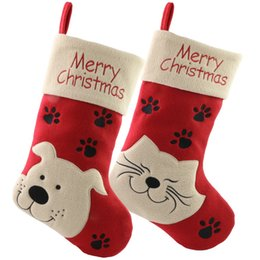 Kitty For Free Australia - Free Shipping 2pcs lot Christmas Pet Stockings Gift Socks Bags with Merry Christmas, Kitty,18 Inch for Christmas Tree Decoration