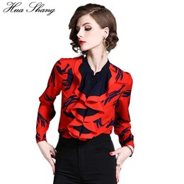 $enCountryForm.capitalKeyWord Canada - Ruffle Office Women Blouse 2018 Fashion Stand Collar Long Sleeve Print Red Chiffon Blouse Shirt OL Work Formal Shirt Ladies Tops