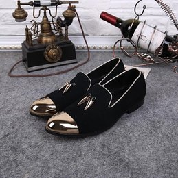 pointy flats shoes 2018 - Dress Pointy Black Shoes Oxford Breathable Formal Wedding Shoes Slip On Fashion Flats Gold Round Toe Casual Shoes For Me