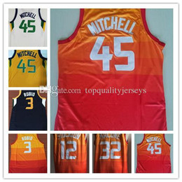 a715366ef Men 45 Donovan Mitchell 3 Ricky Rubio jersey 32 Karl Malone 12 John  Stockton 27 Rudy Gobert blue white yellow 100% Stitched Jerseys