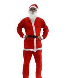 Discount christmas santa suits adult - New Xmas Adult Costume Christmas Clothing Santa Claus Suit Cosplay Clothes Props Non-woven Christmas Clothing 5pcs Set