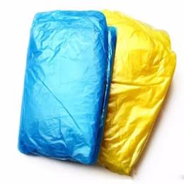 Опт Одноразовые плащ взрослый одноразовый аварийный водонепроницаемый капюшон пончо путешествия кемпинг должен дождь пальто открытый дождь одежда