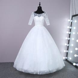 $enCountryForm.capitalKeyWord Canada - Wedding Gowns 1 2 sleeve Plus Size lace Wedding Dresses Cheap Beach Chiffon Tea Length Plus Size White Ivory Formal Women Wear