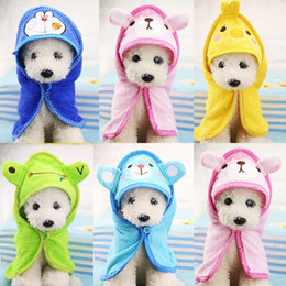 Towels For Dogs NZ - Cute Pet Dog Towel Soft Drying Bath Pet Towel For Dog Cat Hoodies Puppy Super Absorbent Bathrobes Cleaning Necessary supply