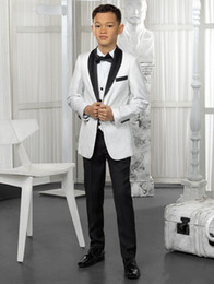 ivory tuxedo kids NZ - White And Black Boys Tuxedo Custom Made Boy Dinner Suits Boys Formal Suits Tuxedo for Kids Tuxedo Formal Occasion Suits Boy(jacket+pant+tie)