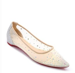 Lace tip shoes online shopping - Lace gauze tip shallow mouth rhinestones flat bottom shoes female summer new Korean version of the breathable wild sequins with high he