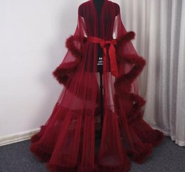 3d95defe18 Burgundy Feather Boudoir Robe Tulle Illusion Bridal Robe Long Gift for Bride  Homecoming Party Dress