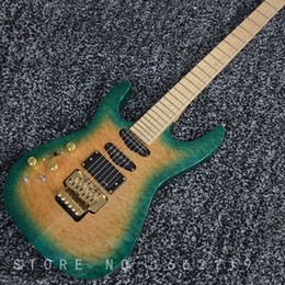Rising Hands NZ - Factory custom left hand electric guitar floyd rose bridge quilted top with maple fingerboard gold hardware musical instrument shop