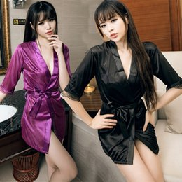 Black kimono dressing gown online shopping - Sexy Satin Lace Black Kimono Intimate Sleepwear Robe Sexy Night Gown Bathrobes Sleepwear Evening Dress Housekeeper Color