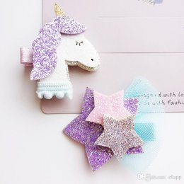 Chinese  fashion baby girl glitter Unicorn Star Barrettes Stereo Unicorn Design girl Clipper Beautiful Girl Kids Hair Accessories free ship manufacturers