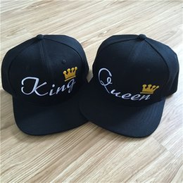Wholesale Queen Gifts NZ - KING QUEEN Embroidery crown Snapback Hat For Men Women punk street Baseball caps Couple Gifts 2 pieces each lot new 2017