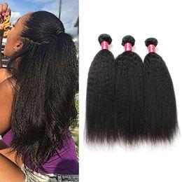 mongolian afro kinky straight hair weave 2019 - Brazilian Kinky Straight Human Hair Weave Bundles 8A Unprocessed Peruvian Malaysian Indian Italian Coarse Afro Yaki Stra