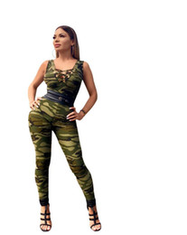 f8ca482f8ca women lace up v-neck sleeveless skinny camouflage leggings long pants  bodycon sporting jumpsuit beach romper plus size W8087