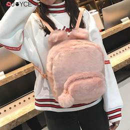 teenage girl shoulder bags 2019 - Famous Brand Women Faux fur Backpacks for Teenage Girls Furry Fluffy Plush Zipper Student School Bags Small Design Shoul