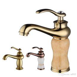 Extraiga el grifo del lavabo del grifo El grifo del grifo del grifo del grifo del lavabo del mezclador frío dorado/de latón y de jade caliente Suministros de limpieza y saneamiento