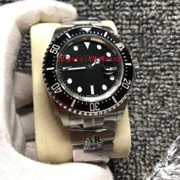Rhinestone watch box online shopping - AR Factory mm Automatic Eta Watch Men L Stainless Steel Date Ceramic Bezel Glidelock Clasp Dive Sea Sport Watches Box