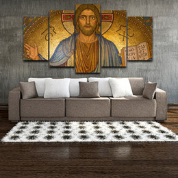 $enCountryForm.capitalKeyWord UK - HD Printed Modern Home Art Oil Painting High Quality Canvas Art Jesus Christ Figure Painting For Bedroom 5 Pieces No Frame
