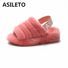 edbb3d86e6fb ASILETO Natural Home Slippers Winter Women Indoor Slippers Fur wedges shoes  Warm Furry Wool Slipper Lady House Shoes woman T536