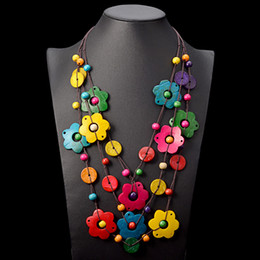 coconut flowers 2019 - 2018 New Ethnic Multi Layer Wooden Flower Long Pendant Necklace Bohemia Handmade Coconut necklace Women Accessories Drop