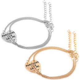 $enCountryForm.capitalKeyWord NZ - 1 Pair Fashion Personality Jewelry Good Friends Couple Bracelet Heart Shaped Stitching Barcelet Charming Jewelry