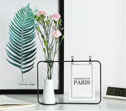 wholesale iron designs 2019 - Creative Iron Photo Frame Stand Postcard Clip Holder Home Decor Fashion Design Family Friends Photo Frame include vase c