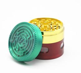 $enCountryForm.capitalKeyWord Australia - 2018 new zinc alloy four eye cigarette lighter 63MM red yellow green labyrinth grinder