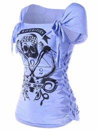 $enCountryForm.capitalKeyWord UK - Gamiss Skull Print Braided Shredding T-Shirt Women Summer Casual Square Neck Short Sleeve Graphic Tee Women T Shirt Big Size 2XL Y1891401
