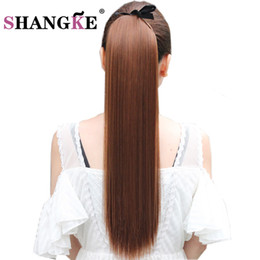 Discount clip heat resistant hair - SHANGKE Hair 22'' Long Straight Ponytails Clip In Ponytail Drawstring Synthetic Pony Tail Heat Resistant Fake