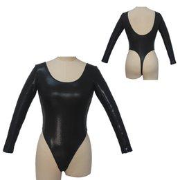 Dancer's Choices Black Women body Tanga a maniche lunghe Tanga basso in lycra Motivo maculato Body sexy Body danza a balze