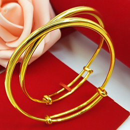 Womens Gold Bangle 18k NZ - 2 pieces 1 pair Smooth Womens Bangle Bracelet Solid 18k Yellow Gold Filled Adjustable Bangle Classic Style Fashion Jewelry