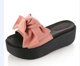 Green platform flip flops online shopping - Summer Big Bowtie Woman Beach Flip Flops Summer Sandals Slip Resistant Slippers Platform Sandals Size B768