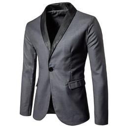 $enCountryForm.capitalKeyWord UK - 2017 New Mens Black Lapel Gray Casual Blazer DJ Party Fashion Stage Singer Wedding Grooms Slim Fit Suit Jacket Costume Homme z30