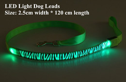 pattern batteries Australia - B11 Zebra pattern Pet dog LED leahses leads pet traction rope pull strap for dogs cats 120cm length battery and USB Rechargeable